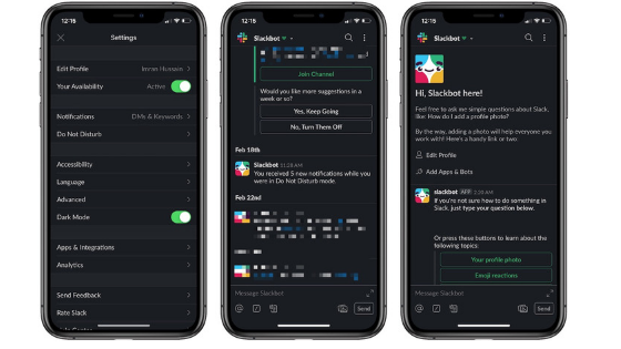 Turning Slack's dark mode on iOS and Android