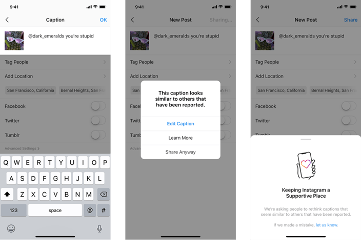 Instagram will alert users before posting offensive captions