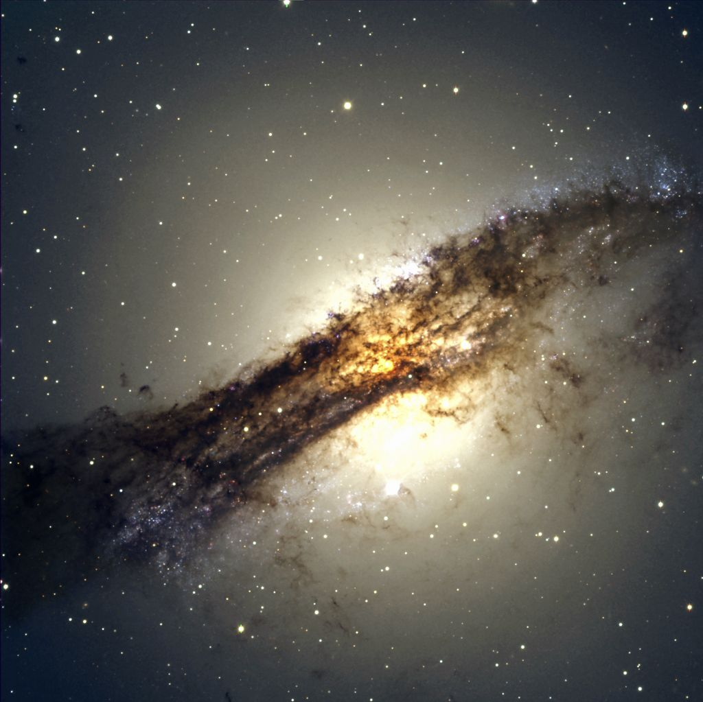 Centaur Galaxy A has spiral arms hidden by dust cloud