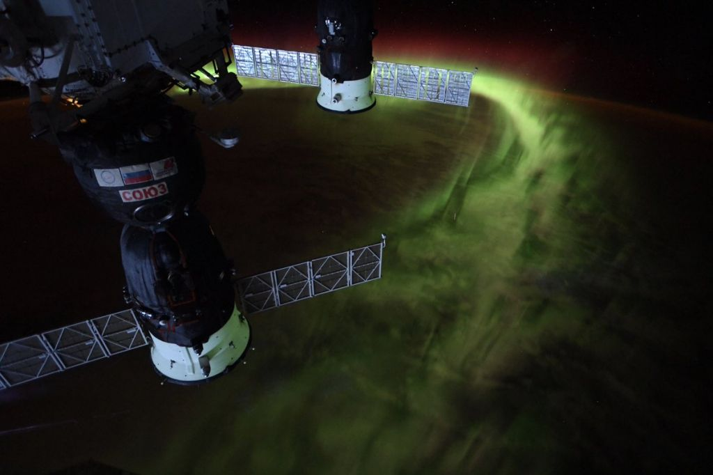 Northern lights viewed from above