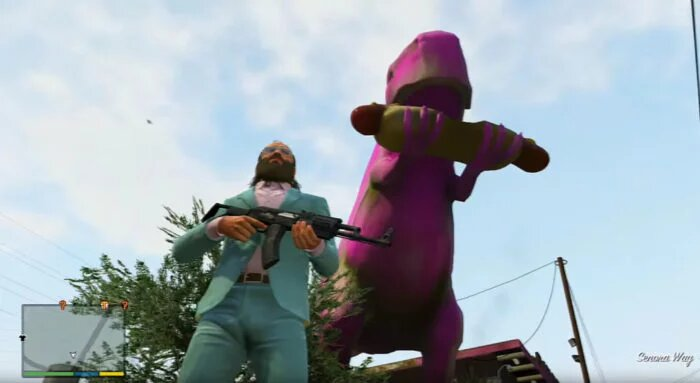 The pink dinosaur of dubious intentions GTA V