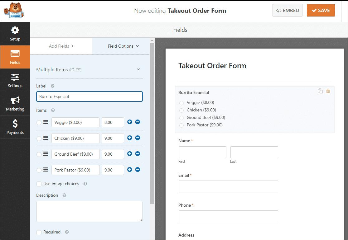 online restaurant order form with WordPress 7